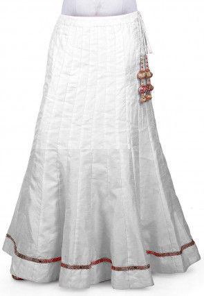 Embellished Border Bhagalpuri Silk Long Skirt in White