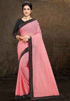 Embellished Border Chantelle Net Saree in Peach