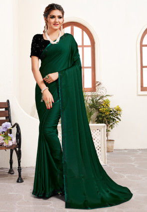 Embellished Border Satin Saree in Dark Green