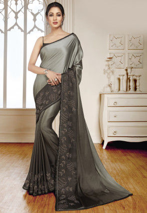 Embellished Border Satin Saree in Grey Ombre