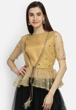 Embellished Brocade Jacket Style Top in Golden