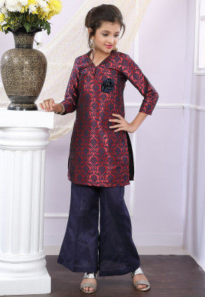 Embellished Brocade Silk Pakistani Suit in Maroon and Black