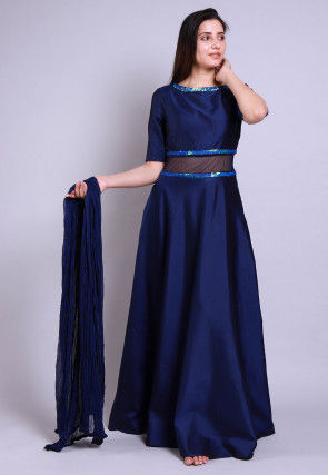 Embellished Caroon Satin Abaya Style Suit in Navy Blue
