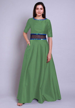 Embellished Caroon Satin Gown in Green