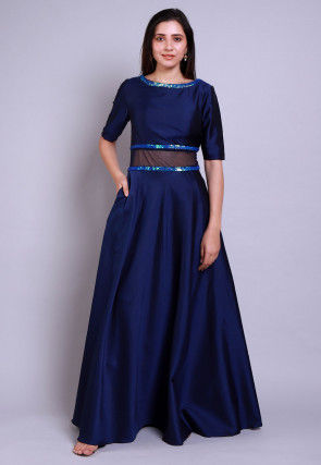 Embellished Caroon Satin Gown in Navy Blue