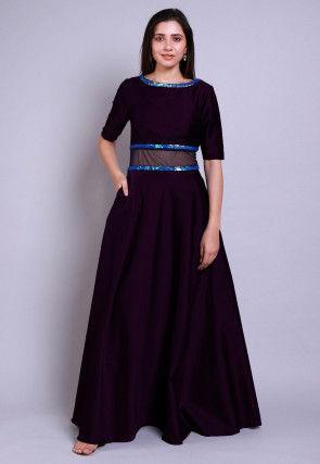 Embellished Caroon Satin Gown in Violet