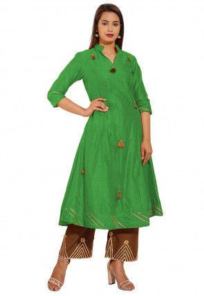Embellished Chanderi Silk A Line Kurta Set in Green