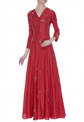 Embellished Chanderi Silk Flared Gown in Red