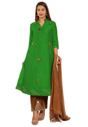 Embellished Chanderi Silk Pakistani Suit in Green