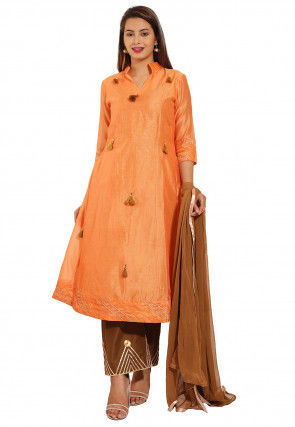Embellished Chanderi Silk Pakistani Suit in Orange