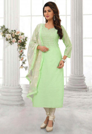 Embellished Chanderi Silk Straight Suit in Light Green