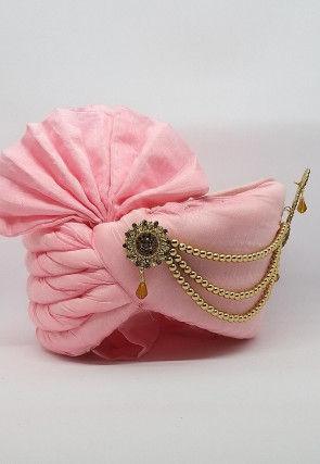 Embellished Chanderi Silk Turban in Pink