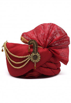Embellished Chanderi Silk Turban in Red