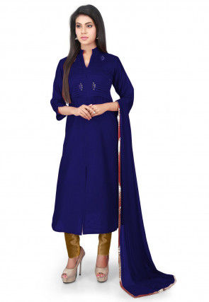 Embellished Chanderi Straight cut Suit in Navy Blue