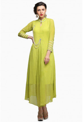 Embellished Chiffon A Line Pleated Kurta in Light Green
