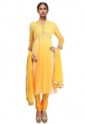 Embellished Chiffon A Line Suit in Yellow
