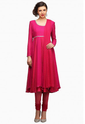Embellished Chiffon Anarkali Suit in Fuchsia