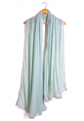 Embellished Chiffon Dupatta in Sea Green