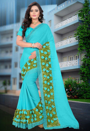 Embellished Chiffon Saree in Light Blue