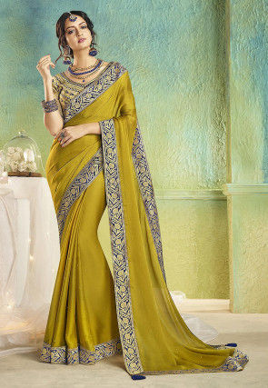 Embellished Chiffon Saree in Olive Green