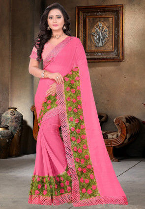 Embellished Chiffon Saree in Pink