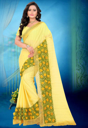 Embellished Chiffon Saree in Yellow