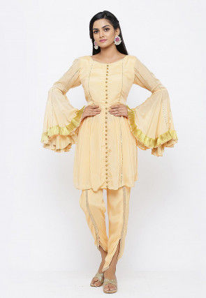 Embellished Chinon Crepe A Line Kurti in Peach
