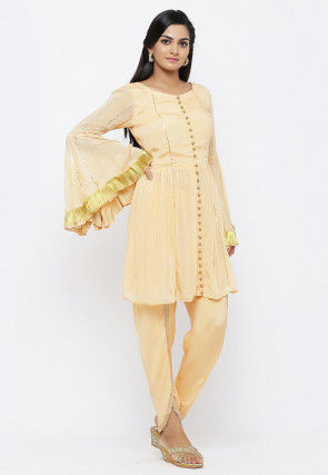 Embellished Chinon Crepe A Line Kurti Set in Peach