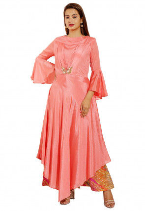 Embellished Chinon Crepe Asymmetric Dress in Peach
