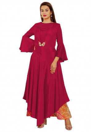 Embellished Chinon Crepe Asymmetric Dress in Red