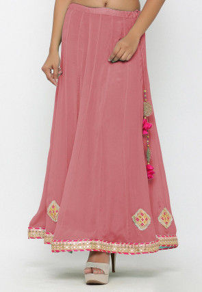 Embellished Chinon Crepe Long Skirt in Baby Pink