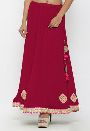 Embellished Chinon Crepe Long Skirt in Coral Pink