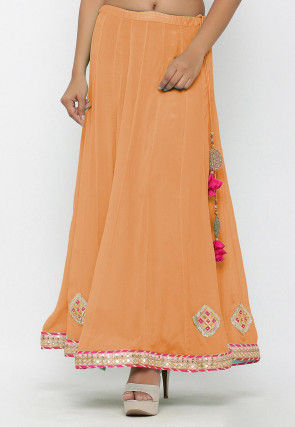 Embellished Chinon Crepe Long Skirt in Light Peach