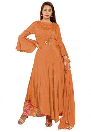 Embellished Chinon Crepe Pakistani Suit in Light Rust