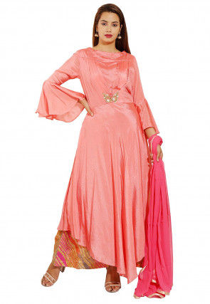 Embellished Chinon Crepe Pakistani Suit in Peach