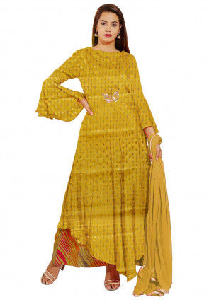 Embellished Chinon Crepe Pakistani Suit in Yellow