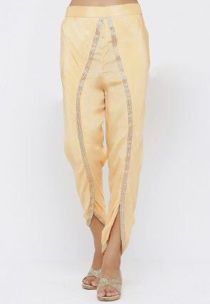 Embellished Chinon Crepe Tulip Pant in Light Yellow