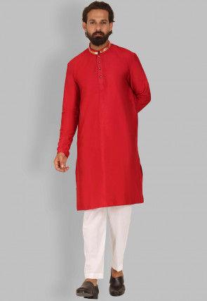 Embellished Collar Dupion Silk Kurta Set in Red