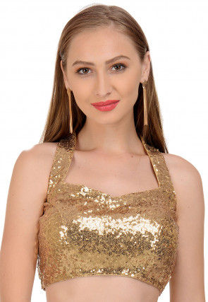 Embellished Cotton Blouse in Golden