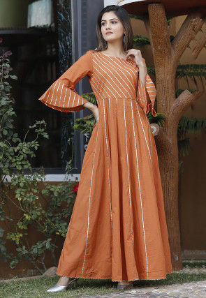 Embellished Cotton Gown in Orange