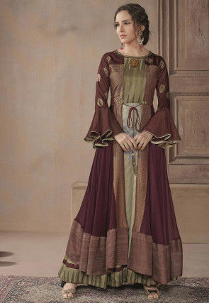 Embellished Cotton Jacket Style Gown in Green and Maroon