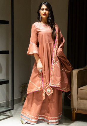 Embellished Cotton Lehenga in Dusty Peach