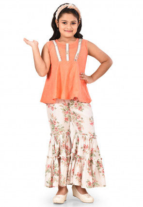 Embellished Cotton Lenin Flared Kurta Set in Peach