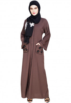 Embellished Cotton Linen Dubai Style Abaya in Brown