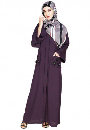 Embellished Cotton Linen Dubai Style Abaya in Purple