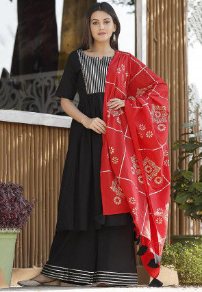 Embellished Cotton Pakistani Suit in Black