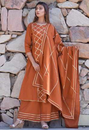 Embellished Cotton Pakistani Suit in Brown