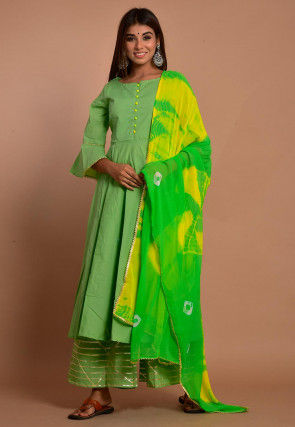 Embellished Cotton Pakistani Suit in Light Green