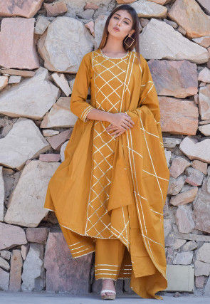 Embellished Cotton Pakistani Suit in Mustard