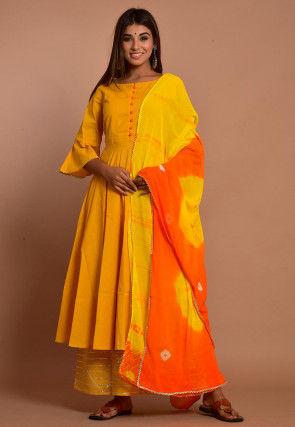 Embellished Cotton Pakistani Suit in Mustard